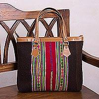 Wool handbag, 'Majestic Andes' - Handwoven Striped Wool Handbag in Espresso from Peru