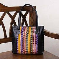 Textile accent shoulder bag, 'Traveling Companion' - Handcrafted Faux Leather and Fabric Shoulder Bag from Peru