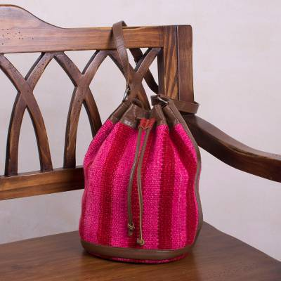 Wool bucket bag, 'Striped Happiness' - Striped Wool Sling in Chili and Cerise from Peru