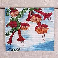 Wool tapestry, 'Cantua Vine' - Handwoven Cantua Flower Wool Tapestry from Peru