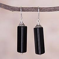 Obsidian dangle earrings, 'Ethnic Shapes' - Triangular Obsidian and Silver Dangle Earrings from Peru