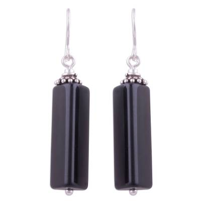 Triangular Obsidian and Silver Dangle Earrings from Peru