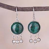 Chrysocolla dangle earrings, 'Gypsy Style' - Circular Chrysocolla and Silver Dangle Earrings from Peru