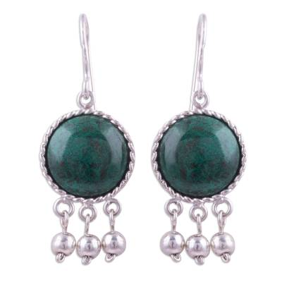 Circular Chrysocolla and Silver Dangle Earrings from Peru