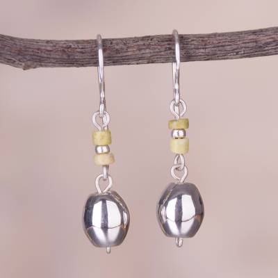 Serpentine dangle earrings, 'Gleaming Forms' - Serpentine and Silver Dangle Earrings from Peru