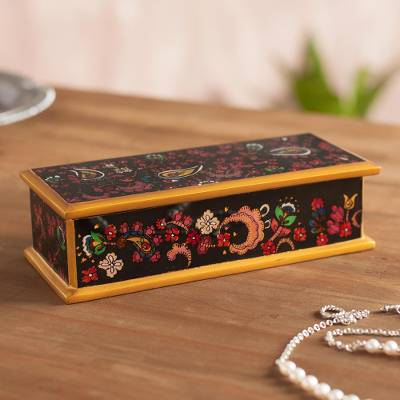 Reverse-painted glass decorative box, 'Floral Life' - Handcrafted Reverse-Painted Glass Decorative Box from Peru