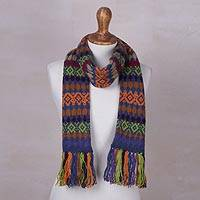 Knit scarf, 'Andean Fortress in Azure' - Azure Blue and Multi-Color Geometric Knit Fringed Scarf