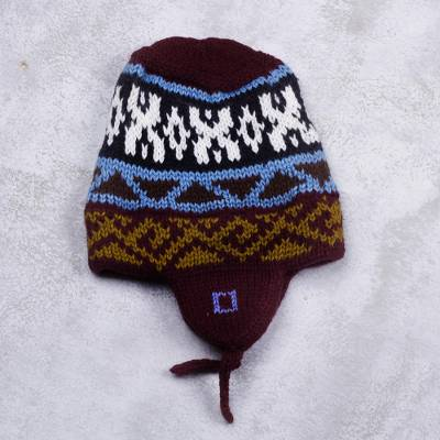 Brown Multi Color Geometric Knit Chullo Hat From Peru Pattern