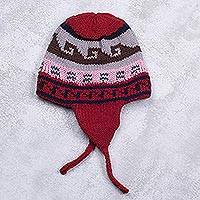Knit chullo hat, 'Red Rhapsody' - Red Multicolor Geometric Knit Chullo Hat from Peru