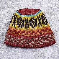 Knit hat, 'Sunburst' - Red and Yellow Multi-Color Geometric Acrylic Knit Hat