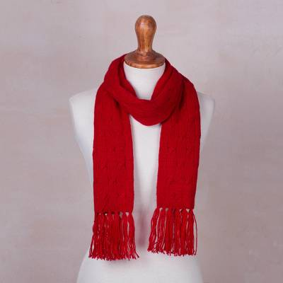 df56c527139324 Cable knit scarf, 'Soft Winter Red' - Andean Red Acrylic Cable Knit Scarf