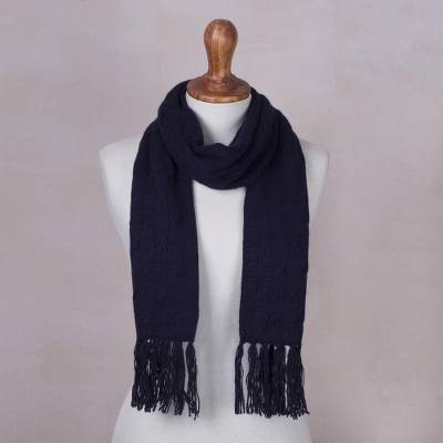 Cable knit scarf, 'Soft Winter Navy' - Andean Unisex Navy Peony Blue Acrylic Cable Knit Scarf