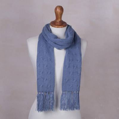 099dbe85beb Cerulean Blue Unisex Acrylic Cable Knit Scarf from Peru - Soft ...