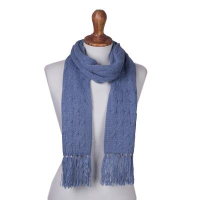 Cable knit scarf, 'Soft Winter Cerulean' - Cerulean Blue Unisex Acrylic Cable Knit Scarf from Peru