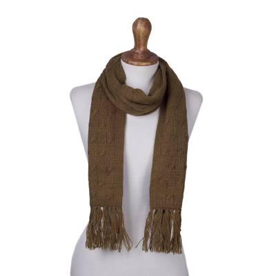 Cable knit scarf, 'Soft Winter Tan' - Andean Acrylic Cable Knit Scarf in Tan