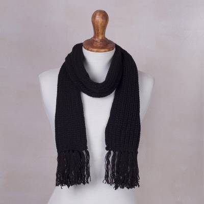 6fd6e9eb54378 Rib knit scarf, 'Black Andean Textures' - Andean Unisex Black Acrylic Rib  Knit