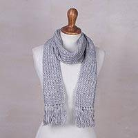 Rib knit scarf, 'Ash Grey Andean Textures' - Andean Unisex Rib Knit Acrylic Scarf in Ash Grey
