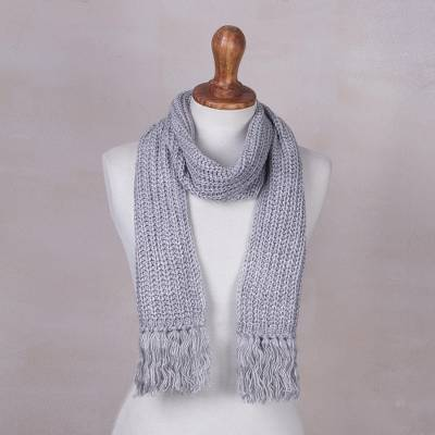 Rib knit scarf, Ash Grey Andean Textures