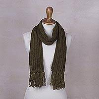 Rib knit scarf, 'Olive Green Andean Textures' - Unisex Rib Knit Acrylic Scarf in Olive Green from Peru