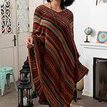 Red and Multi-Color Striped Acrylic Knit Poncho, 'Rivers of Red'