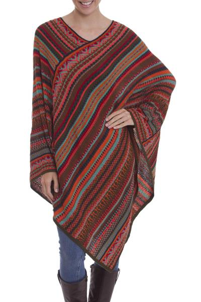 Knit poncho, 'Rivers of Red' - Red and Multi-Color Striped Acrylic Knit Poncho