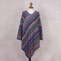 Knit poncho, 'Stripes in Bloom' - Fuchsia and Multi-Color Striped Acrylic Knit Poncho
