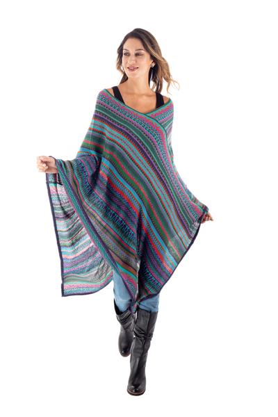 Fuchsia and Multi-Color Striped Acrylic Knit Poncho
