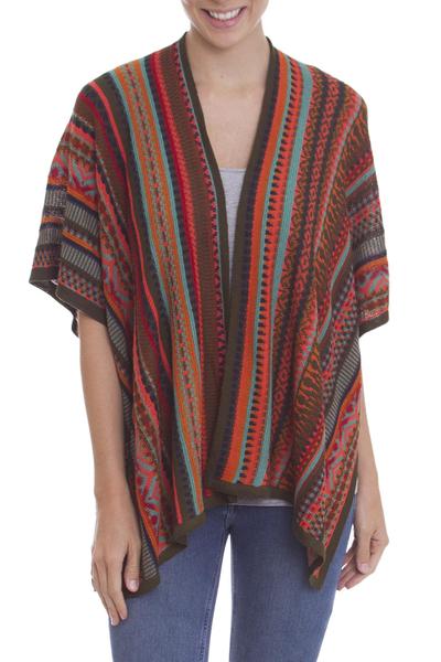Knit ruana, 'Desert Strata' - Red and Multi-Color Striped Acrylic Knit Ruana