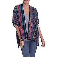Knit kimono-style ruana, 'Garden Strata' - Fuchsia and Multi-Color Striped Acrylic Knit Ruana
