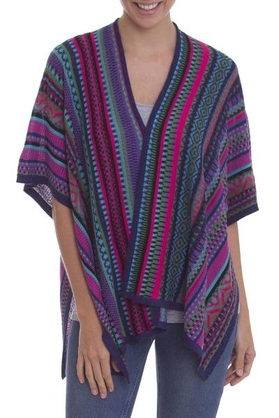 Knit alpaca blend kimono, 'Peruvian Rainbow' - Peruvian Multicolored Acrylic and Alpaca Blend Ruana Kimono