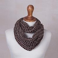 Alpaca blend infinity scarf, 'Animalistic' - Alpaca Blend Knit Animal Print Infinity Scarf from Peru