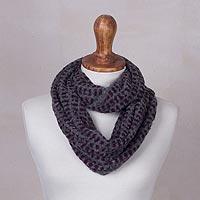 Alpaca blend infinity scarf, 'Animal Charm' - Peruvian Animal Print Style Alpaca Blend Knit Infinity Scarf