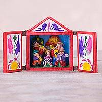 Wood and ceramic retablo, 'Andean Music' - Hand Crafted Retablo of Andean Musicians from Peru