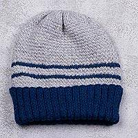 Men's alpaca blend hat, 'Winter's Embrace in Blue' - Peruvian Men's Blue and Grey Striped Alpaca Blend Hat