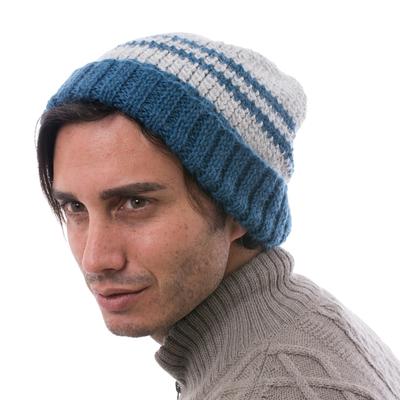 Men's alpaca blend hat, 'Winter's Embrace in Blue' - Peruvian Men's Blue and Grey Striped Alpaca Blend Hat