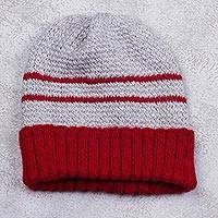 Men's alpaca blend hat, 'Winter's Embrace in Red'