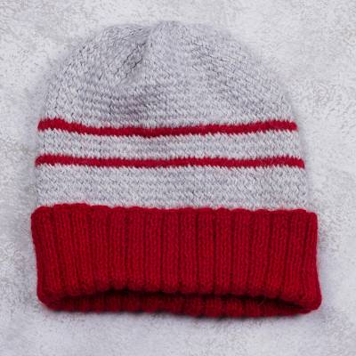 Men's alpaca blend hat, 'Winter's Embrace in Red' - Men's Red and Grey Striped Alpaca Blend Hat from Peru