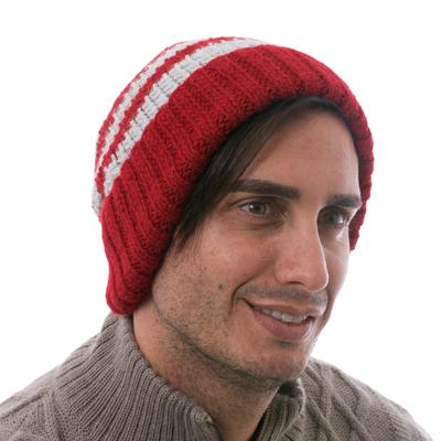 Men's alpaca blend hat, 'Winter's Embrace in Red' - Men's Red and Grey Striped Alpaca Blend Hat from Peru