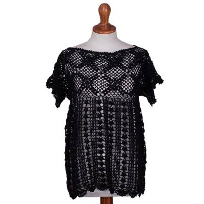 100% pima cotton top, 'Midnight Blossoms' - Black Hand-Crocheted 100% Pima Cotton Top from Peru
