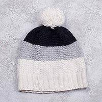 Alpaca blend hat, 'Frost' - Handmade Black Grey and White Alpaca Blend Hat from Peru