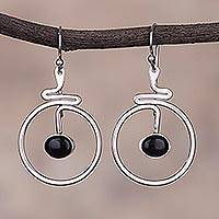 Onyx dangle earrings, 'Swirling Moons' - Circular Black Onyx Dangle Earrings from Peru
