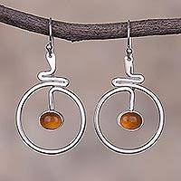 Opal dangle earrings, 'Swirling Moons' - Round Natural Opal Dangle Earrings from Peru