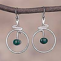 Chrysocolla dangle earrings, 'Swirling Moons' - Circular Green Chrysocolla Dangle Earrings from Peru