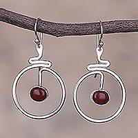Jasper dangle earrings, 'Swirling Moons' - Round Red Jasper Dangle Earrings from Peru