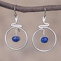 Lapis lazuli dangle earrings, 'Swirling Moons' - Round Lapis Lazuli Dangle Earrings from Peru