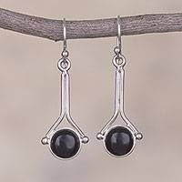 Onyx dangle earrings, 'Killa Moon' - Onyx and Sterling Silver Earrings from Peru