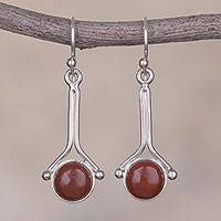 Jasper dangle earrings, 'Killa Moon' - Red Jasper and Sterling Silver Earrings from Peru