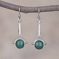 Chrysocolla dangle earrings, 'Killa Moon' - Chrysocolla and Sterling Silver Earrings from Peru