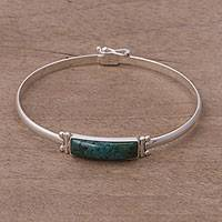 Chrysocolla pendant bracelet, 'Andean Rectangle' - Rectangular Chrysocolla Pendant Bracelet from Peru