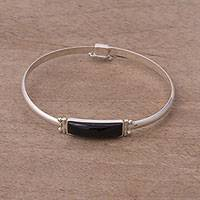 Obsidian pendant bracelet, 'Andean Rectangle' - Rectangular Obsidian Pendant Bracelet from Peru
